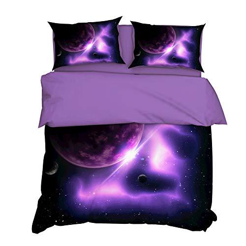 AYMAING Bettwäsche-Set,Galaxie Star Motiv, Bettbezug 155 x 220 cm, Kopfkissenbezug 80 x 80 cm, Mikrofaser