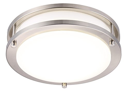 Cloudy Bay LED Flush Mount Ceiling Light,10 inch,17W(120W Equivalent) Dimmable 1050lm,4000K Cool White,Brushed Nickel Round Lighting Fixture for Kitchen,Hallway,Bathroom,Stairwell, ETL/JA8
