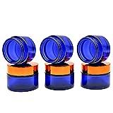 6 Piezas Tarro de Crema vacío,Botella de Vidrio Azul de 30 ml con Tapa Dorada para cosméticos, cremas, lociones, aceites Esenciales en Polvo