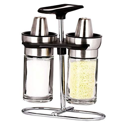 ZSPXZZ De acero inoxidable de especias tarros de vidrio condimentos de botellas de cocina conjunto de condimentos caja de sal pimienta condimentos latas pequeña idea tarro de especias