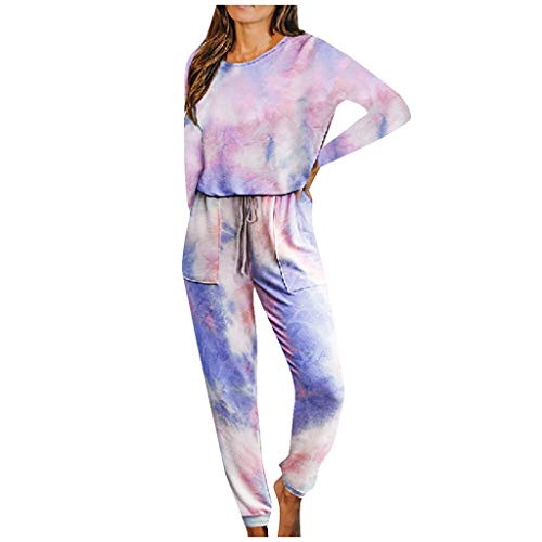 ATRISE Women's Tie-Dye Print Hooded Outfits Set,Fashion Casual Long Sleeve,Tops and Shorts Summer Pajamas for Women Pink