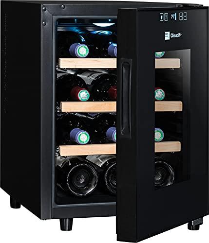 CLIMADIFF CC12 Design Weinkühlschrank mit Glastür   12 Flaschen   TÜV geprüft   Flaschenkühlschrank klein   Kompakt 35x46x48 cm   Leise 30 dBA