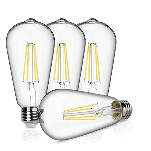 Vintage LED Edison Bulb, 8W Dimmable Filament Light Bulb, ST64 940 Lumen Daylight 5000K, 75W-100W Incandescent Equivalent,E26 Medium Base Squirrel Cage Antique Lamp, Pack of 4