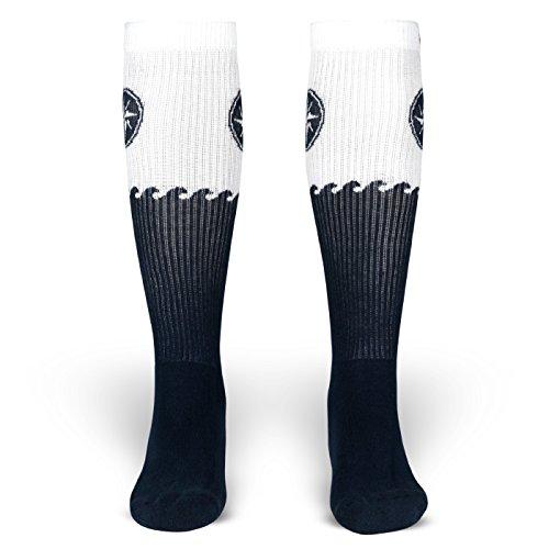 Blanker Hans | Socken von ROCKASOX | Weiß, Blaue Wellen & Windrose | kniehoch | Unisex Strümpfe Size M (39-42)