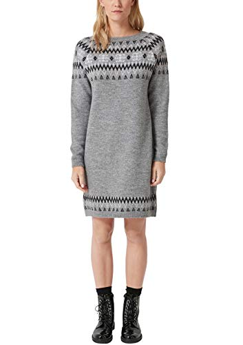 s.Oliver RED Label Damen Strickkleid mit Norweger-Muster Silver Grey Melange Knit 44