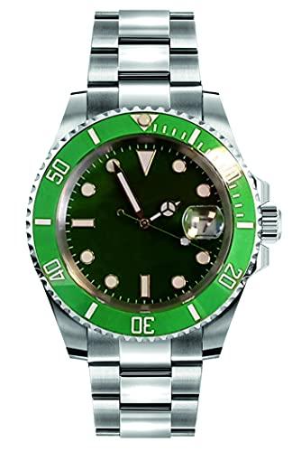 Collectors Club TW1006 Reloj automático de acero inoxidable 316L, indicador de fecha, bisel de cerámica, cristal de zafiro, resistente al agua 5 bar