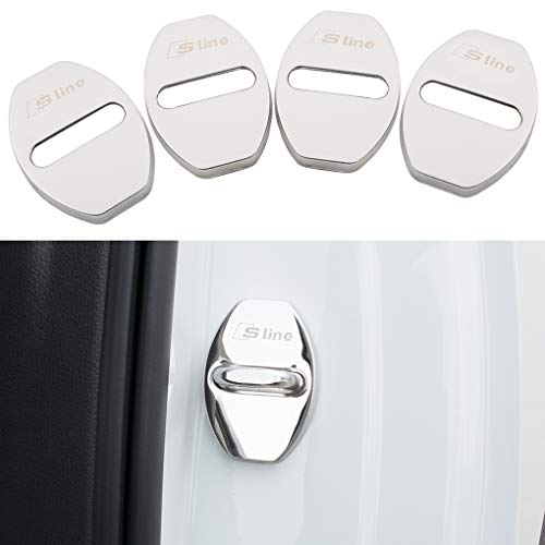 JINZHAO Stainless Steel Car Door Lock Latches Cover Protector for for Audi A3 A4 Allroad A5 A6 A7 A8 Q3 Q5 S3 S4 S6 S7 S8 SQ5 E-tron Car(Pack of 4 (Stainless Steel Door Lock Cover Bright Silver)