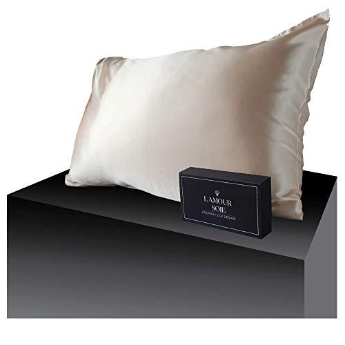 100% Mulberry Silk Pillowcase-Peach, Perfect for Hair and Skin, Prevent Wrinkles, Kind to Skin, Natural, Hypoallergenic Material, Pampers Your Skin (Queen 20 x 30)