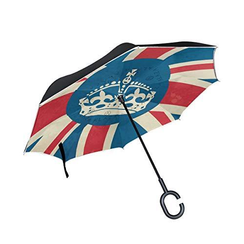 LINDATOP - Paraguas invertidas con corona de estilo británico en la bandera invertida, doble capa de apertura automática, resistente al viento, protec