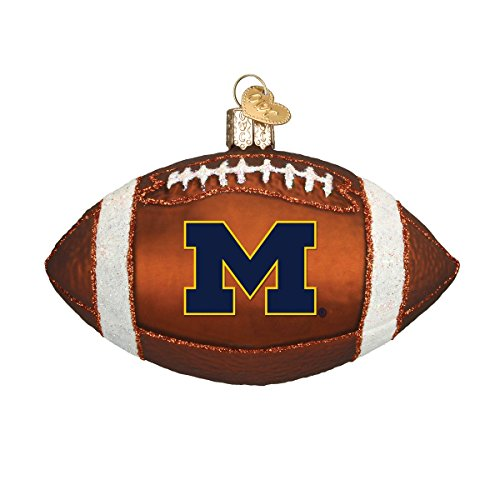 Old World Christmas University of Michigan Wolverines Glass Blown Ornaments for Christmas Tree Football