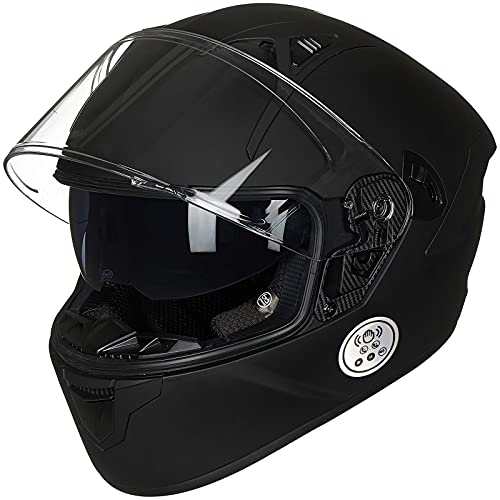 ILM Touch Built-in Bluetooth Integrated Full Face Motorcycle Helmet,Dual Visor Voice Dial/Hands-Free Call Bluetooth Helmet,24-36H Music Play DOT Approved Helmet with Bluetooth 5.0(Matte Black,Medium)