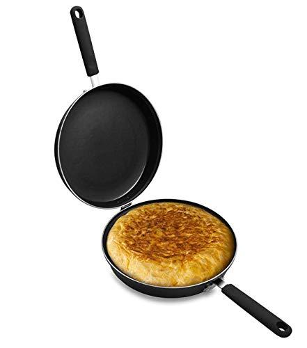 e!Orion Sartén Doble para Tortilla, Aluminio Fundido Antiadherente,diametro 24 cm, Apta para Todo Tipo de cocinas, incluida inducción y Puede lavavajillas