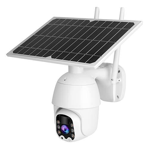 Jeanoko Sistema de CCTV 4G PTZ Cámara de detección de Movimiento PIR con Carga USB a Todo Color 1080P HD para Sistema de protección de Seguridad en el hogar para(European Frequency Band)