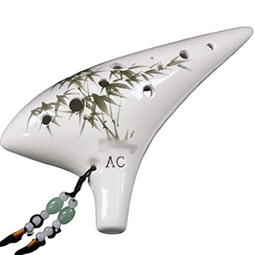 Tinta Pintada a Mano de bambú Alto C Ocarina, Creativo Estilo Submarino AC Ocarina de 12 Agujeros, Instrumento para Tocar la cerbatana, cordón + Base