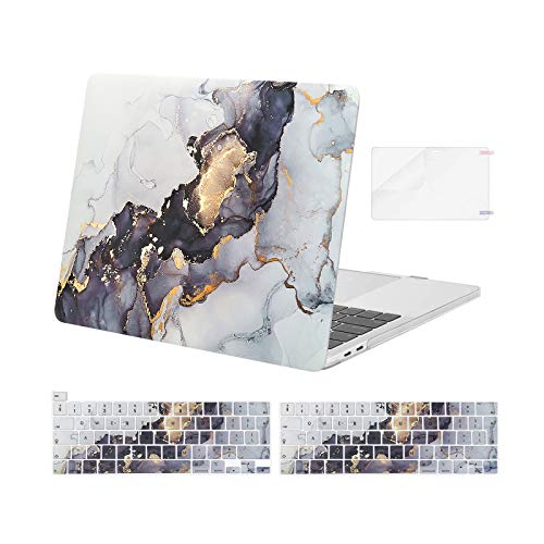 MOSISO Compatible with MacBook Pro 13 inch Case 2016-2020 Release A2338 M1 A2251 A2289 A2159 A1989 A1706 A1708, Plastic Hard Shell Case & Keyboard Cover Skin & Screen Protector, Gray Black Marble