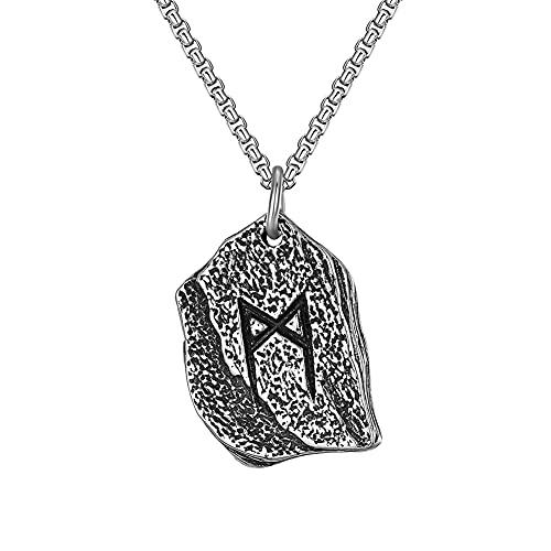 NICEWL Collar Piedra SíMbolo Vikingo Grabado Acero Inoxidable para Hombres/Mujeres, Medalla Colgante de Mago Runas BrúJula NóRdica, JoyeríA de Amuleto Celta Vintage,60cm