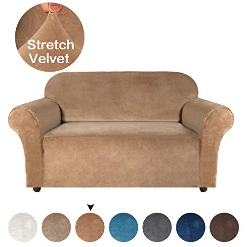 Thick Velvet Stretch Couch Covers for 2 Cushion Couch Loveseat Covers for Living Room Sofa Slipcovers Furniture Covers with Non Slip 1 Straps, Soft Spandex Fabric Washable (Loveseat, Luggage)