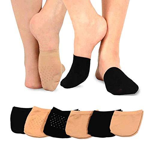MANZI 6 Pairs Toe Topper Women Socks Half Noshow Seamless Socks