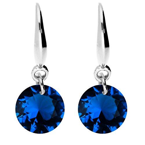 MYA art Damen Ohrhänger 925 Sterling Silber mit Zirkonia Kristall Stein Anhänger Saphir Blau Dunkelblau Klein Ohrringe Hängend Klein MYAWGOHR-37