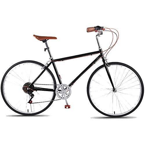 ZHIPENG Bici da Strada da Città per Pendolari da 28 Pollici, Bicicletta A Scatto Fisso Urbano con Telaio da 21 Pollici, Donna da Uomo retrò Unisex A velocità Singola 700C,Nero