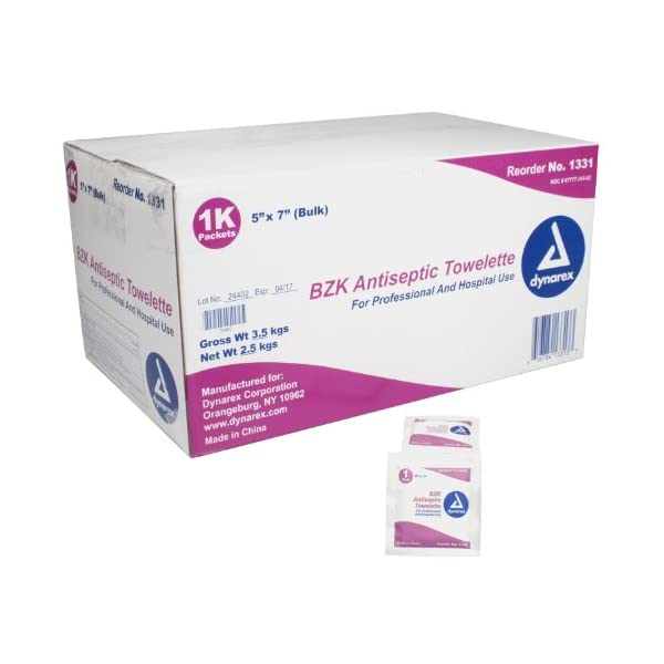 Antibacterial Hand Wipes Dynarex BZK Antiseptic Towelettes 5″ x 7″ 1000/cs Bulk