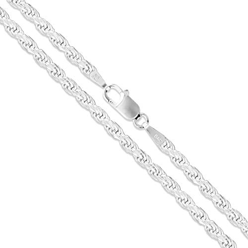 """Sterling Silver Diamond-Cut Rope Chain 3mm Solid 925 New Necklace 20"""""""