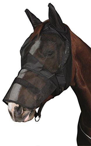 Amesbichler HorseGuard Fliegenmaske Insektenmaske Pferde Soft mit Ohrenschutz und Maulteil, schwarz mit UV Schutz