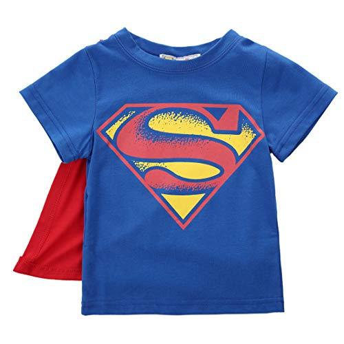 T-Shirt Bambino Bambino Manica Corta Superman T-Shirt Mantello per Bambini Giacca Cartone Animato Monopezzo (Blu, 18-24mesi)
