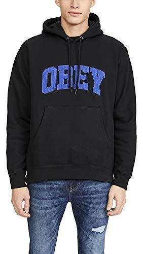 Obey Men's UNI Hooded Sweashirt, Black, Large