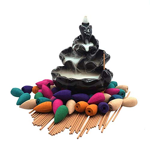 Ceramic Waterfall Incense Burner Set with 40 pcs Cones and 50 pcs Sticks Incense Handcraft Lotus Pond Censer for Home Aromatherapy