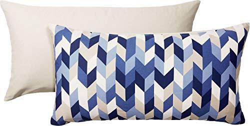 Meradiso® 2X Baumwollsatin Kissenbezüge, 40 x 80 cm (Sand blau grafisch Gemustert)