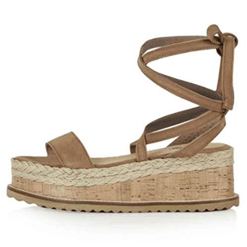 Damenmode Plattform Sandalen Open Toe Knöchelriemen Komfortable Slip On Riemchen Espadrilles Sandale