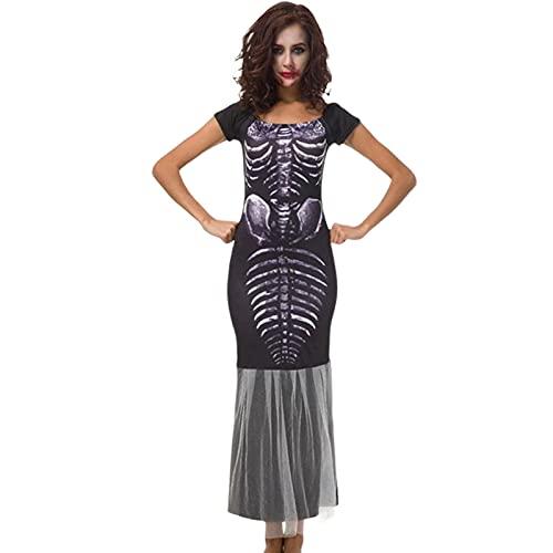 dfsda Vestido De Calavera Sexy para Mujer, Vestido Largo De Halloween para Mujer, Falda Larga De Cola De Pez De Bruja Esqueltica, Vestido De Disfraz Victoriano De Bola con Cuello Cuadrado Vintage
