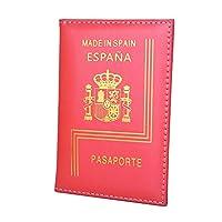 パスポートホルダー レザーアメリカ合衆国ディプロマイオマパスポートカバートラベルドキュメント保護ケースIDカードホルダー 財布 (Color : Spain)