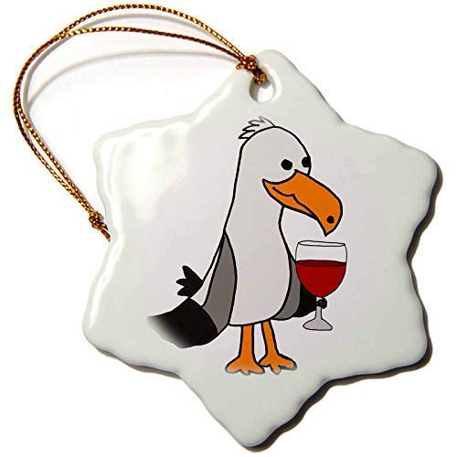 Dant454ty Unique Seagull Drinking Wine Beach Cartoon Christmas Ornaments for the Home 2019 for Women Friends Kids Christmas Tree Ornament