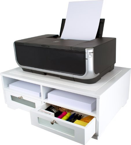 Victor Midnight Black Collection W1130 Wood Printer Stand with Two Drawers and Two Storage Slots, No Assembly Required, Pure White