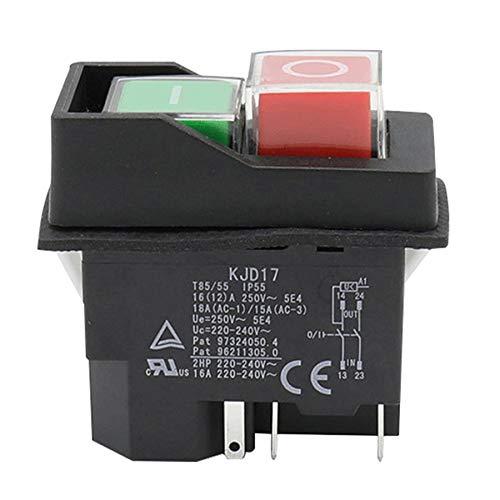Huante Interruptor de Botón Electromagnético una Prueba de Agua 5 Pines Kjd17 220-240V Bobina Arrancador Magnético Interruptores de Seguridad de Herramientas Eléctricas