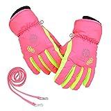 Magarrow スキーグローブ 子供用 スノーボード グローブ 手袋 男の子 女の子 防寒 防風 手袋 (ピンク, M(8~9Y))