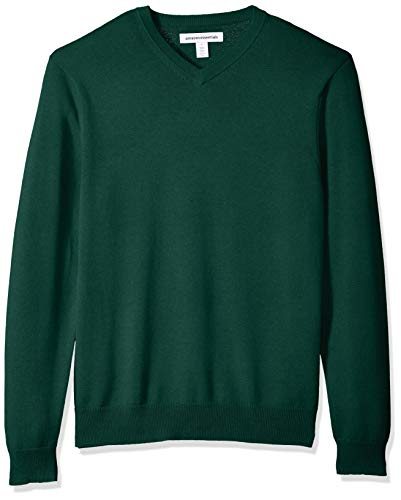 Amazon Essentials Men's V-Neck Sweater, Dark Green, Large
