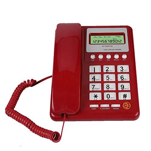 Vbestlife Teléfono con Cable con identificador de Llamadas, rellamada DTMF/FSK, teléfono Fijo de Escritorio, teléfono Fijo para la Oficina del Hotel en casa, con Altavoz, Pantalla