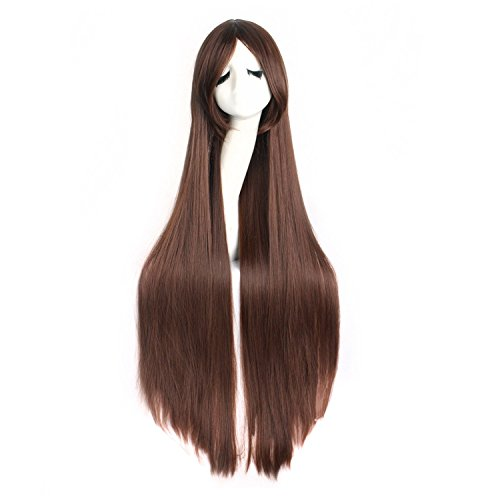 """MapofBeauty 40"""" 100cm Anime Costume Long Straight Cosplay Wig Party Wig (Dark Brown)"""