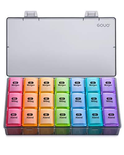 Amazon Brand – Eono Tablettenbox 7 Tage 3 Fächer - Medikamentenbox Pillendose Morgens Mittags Abends Reise Deutsch