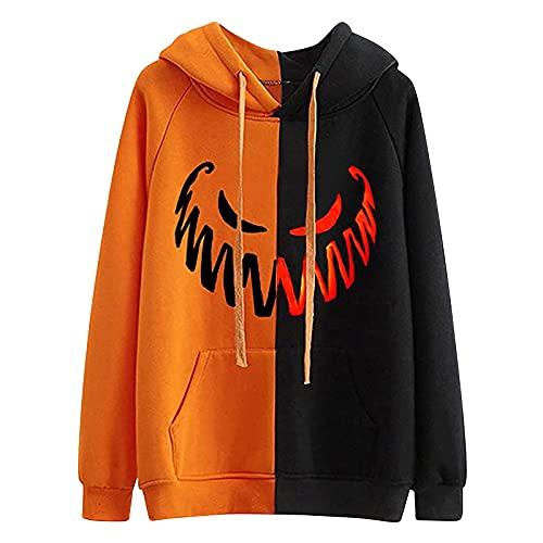 Wave166 Sudadera con capucha para mujer, diseño de patchwork, dos colores, manga larga, cuello redondo, con bolsillos, estampado de calabaza, emoji, con cordón, para carnaval, fiesta
