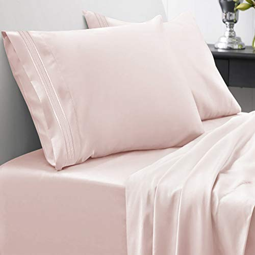 Sweet Home Collection 1800 Thread Count Bed Set Egyptian Quality Brushed Microfiber 4 Piece Deep Pocket Sheets, King, Pale Pink