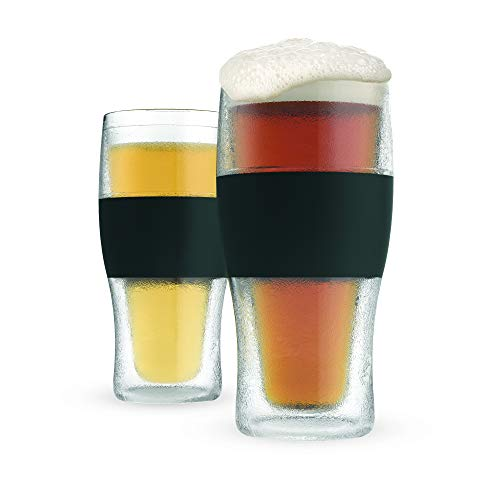 Host Freeze Beer Glasses, 16 ounce Freezer Gel Chiller Double Wall Plastic Frozen Pint Glass, Set of 2, Black