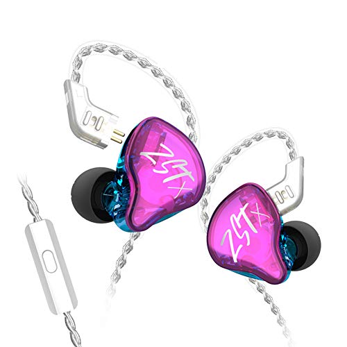 KZ ZST X in-Ear Monitors, Upgraded Dynamic Hybrid Dual Driver ZSTX Earphones, HiFi Stereo IEM Wired Earbuds/Headphones with Detachable Cable for Musician Audiophile (with Mic, Purple)