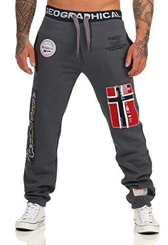Geographical Norway Herren Jogginghose Myer Jogg-Pants mit Patches Dark Grey L