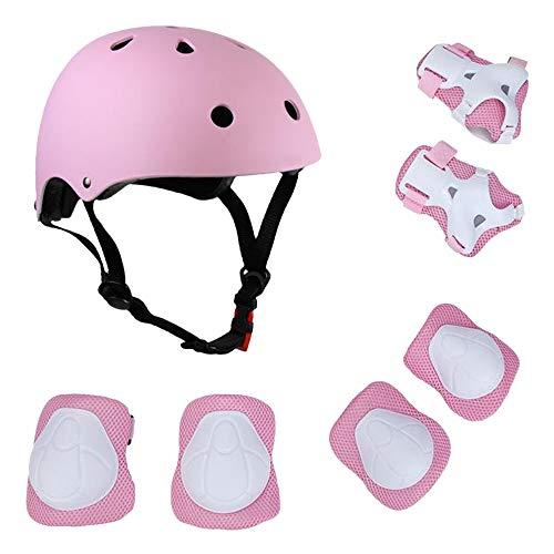Lixada Kinder 7 in 1 Helm und Pads Set verstellbare Kinder Knieschoner Ellbogenschützer Handgelenkschoner für Roller, Skateboard, Rollschuhe, Radfahren, Kinder, Rose