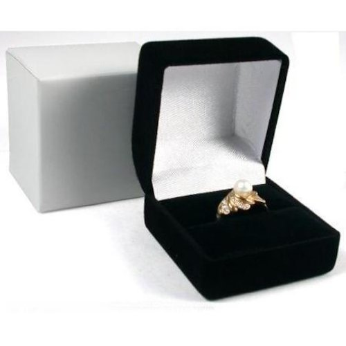 12 Black Flocked Ring Gift Boxes Jewelry Displays