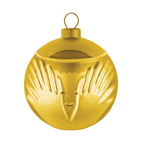 Alessi Amj13 6 Gd Angioletto Boule de Noël en Verre Soufflé, Colorée or, decorée à la Main, Set de 4 Pièces